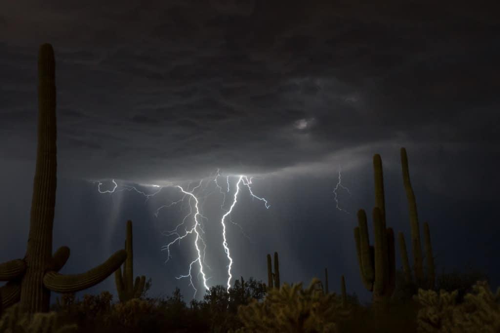 Sonoran desert lightning storm